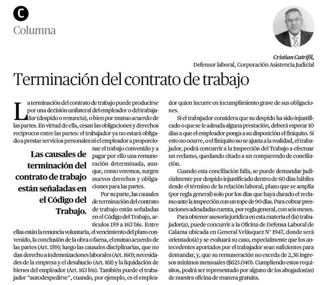 Columna Cristian Catrifil, Defensor Laboral de la Corporación de Asistencia Judicial