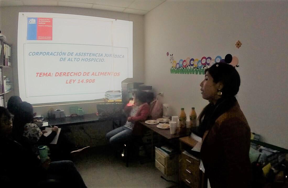 Consultorio Jurídico Alto Hospicio realizó charla sobre Derechos en materia de Alimentos Menores
