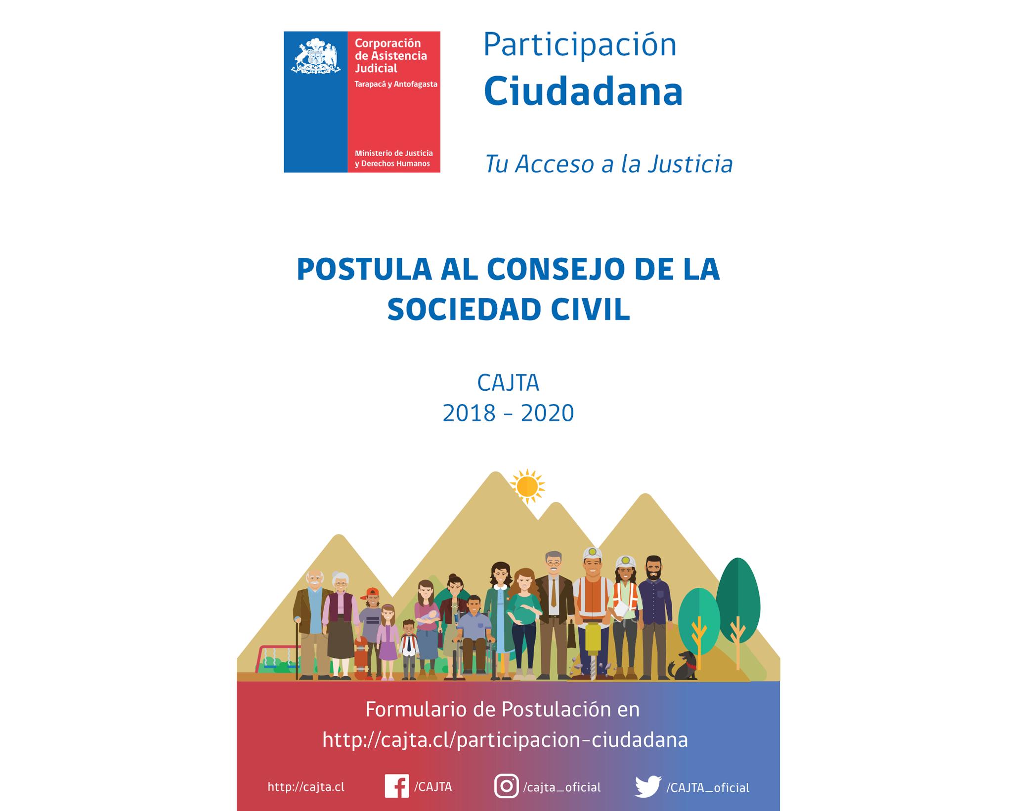 Postula al Consejo de la Sociedad Civil CAJTA 2018 - 2020