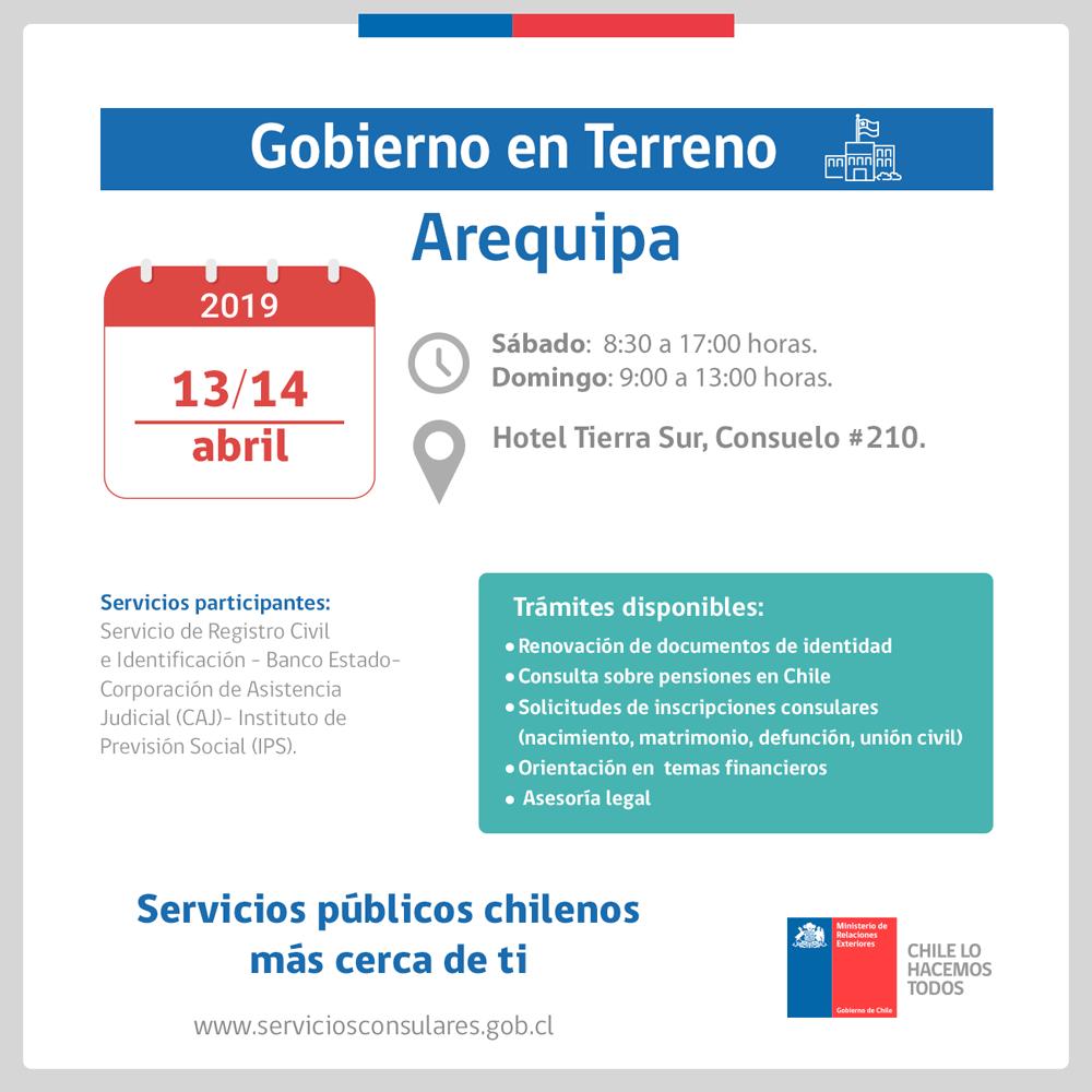 Chilenos en Arequipa: sábado 13 y domingo 14