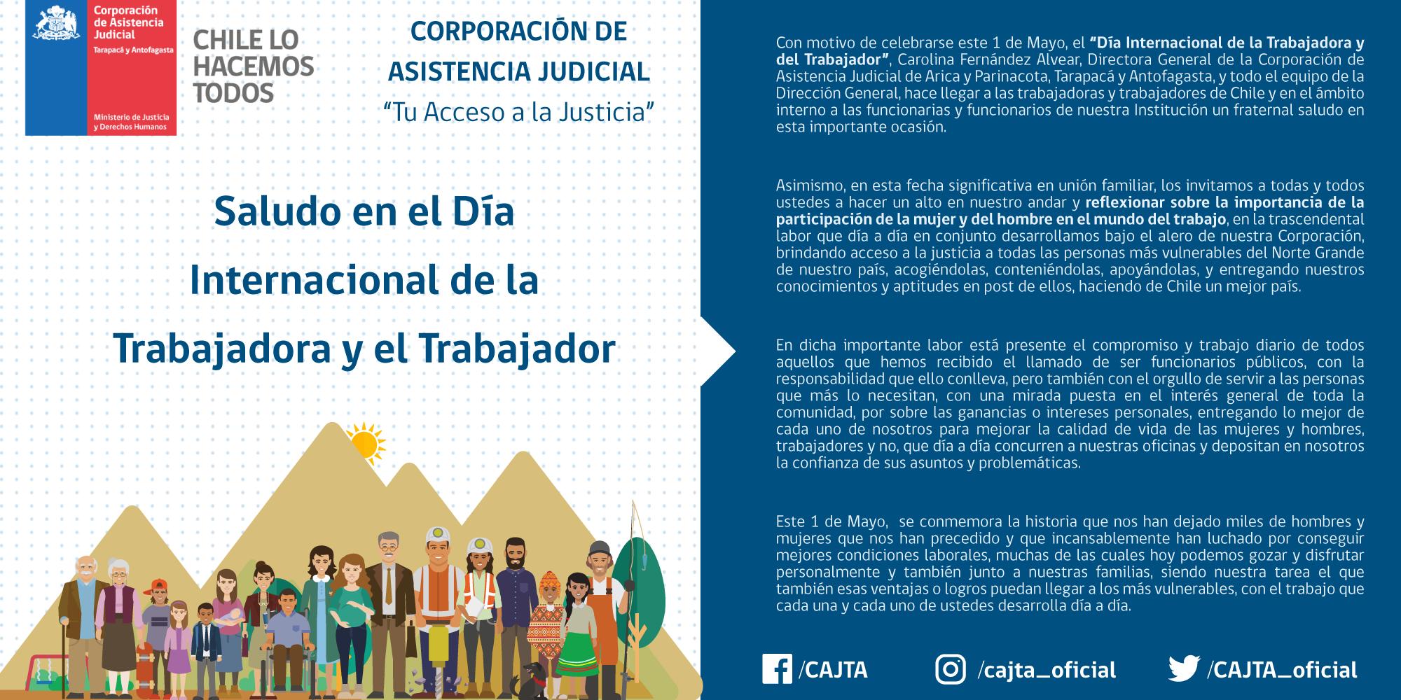Saludo en el día internacional de la trabajadora y el trabajador