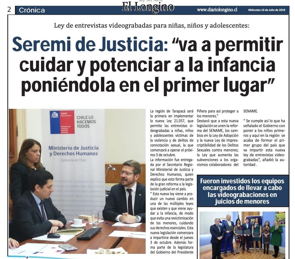 Publicación en Facebook de Seremi de Justicia y Derechos Humanos Tarapacá