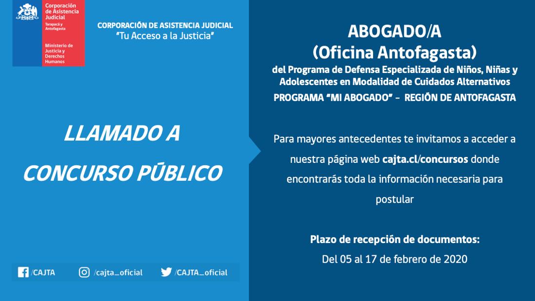 Llamado a Concurso Público, Abogado(a) Oficina Antofagasta, Programa Mi Abogado Antofagasta