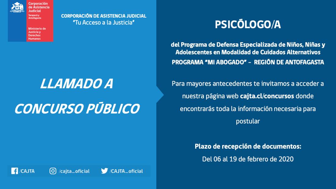 Llamado a Concurso Público, Psicólogo(a), Programa Mi Abogado Antofagasta