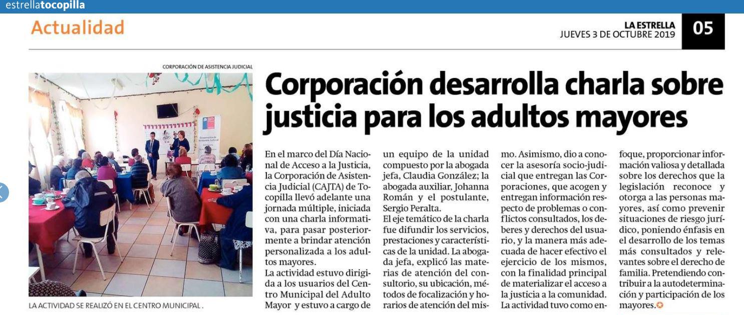 Día Nacional del Acceso de a la Justicia, charla a adultos mayores, informa Diario La Estrella de Tocopilla