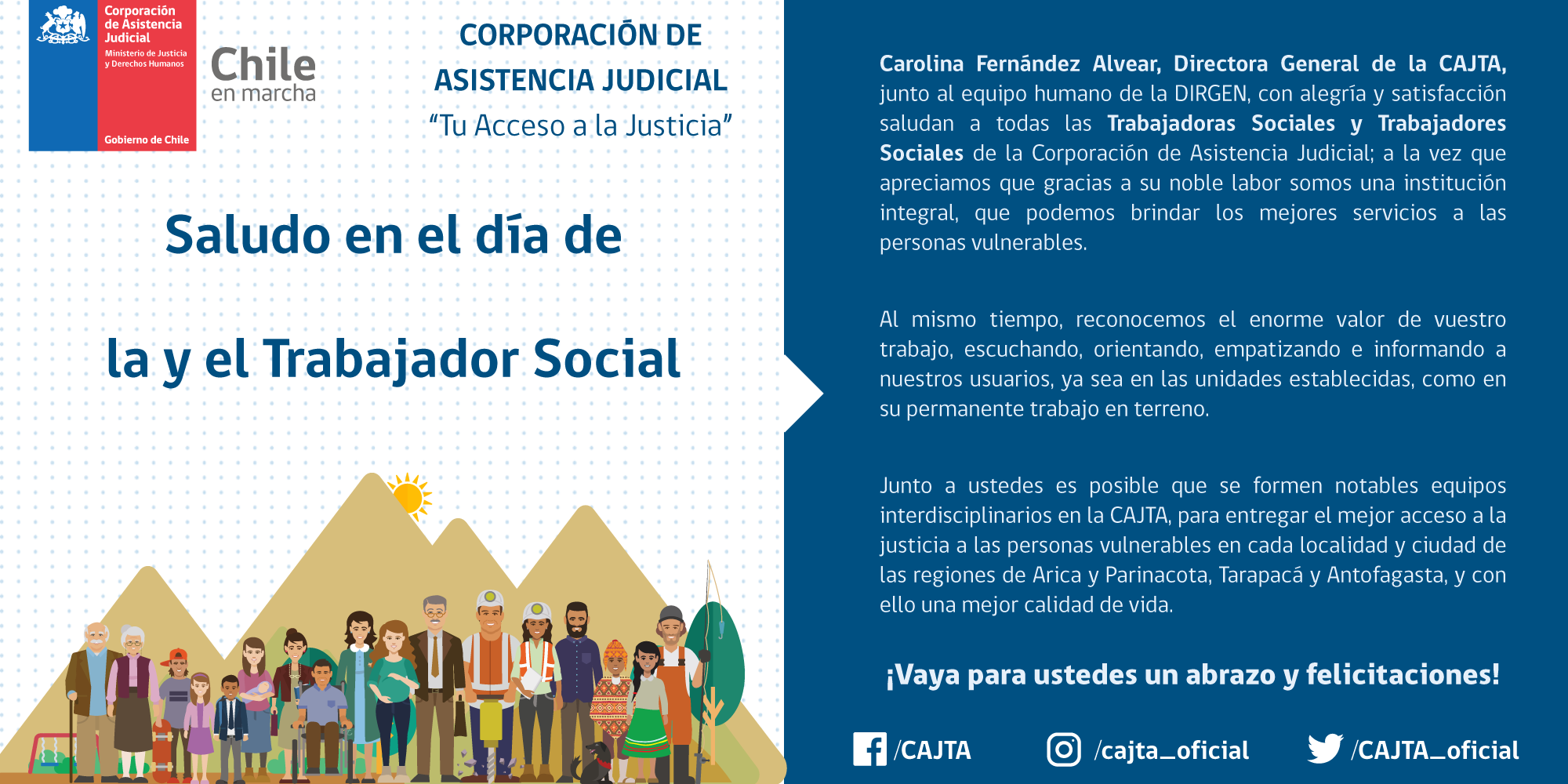Saludo en el día del Trabajador y Trabajadora Social