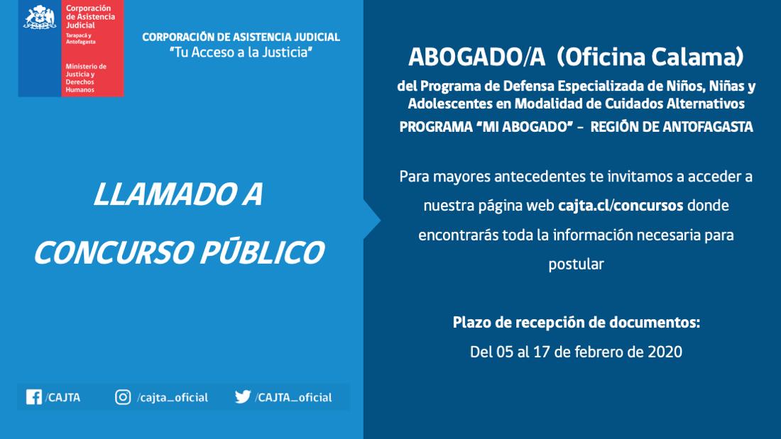 Llamado a Concurso Público, Abogado(a) Oficina Calama, Programa Mi Abogado Antofagasta
