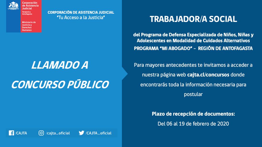 Llamado a Concurso Público, Trabajador(a) Social, Programa Mi Abogado Antofagasta