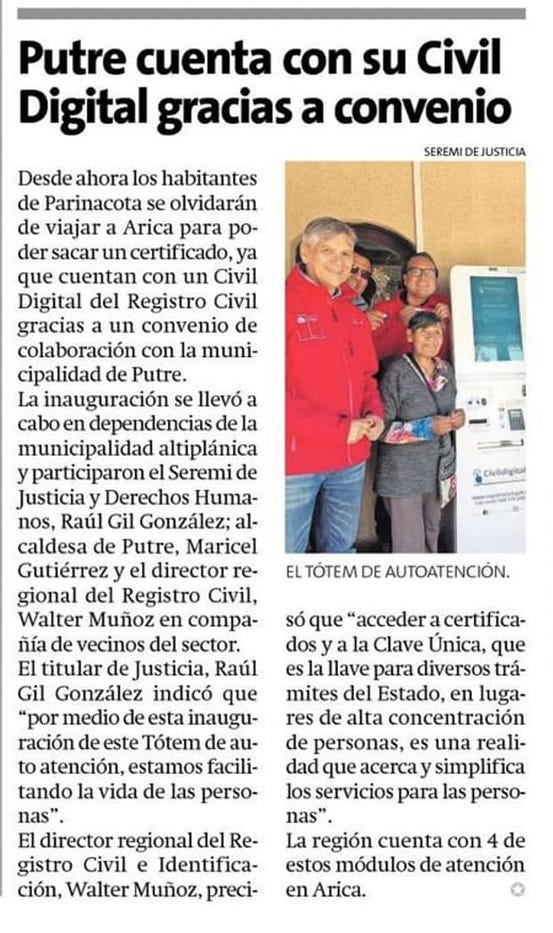 Publicación en Facebook de Seremi de Justicia y Derechos Humanos de Arica y Parinacota