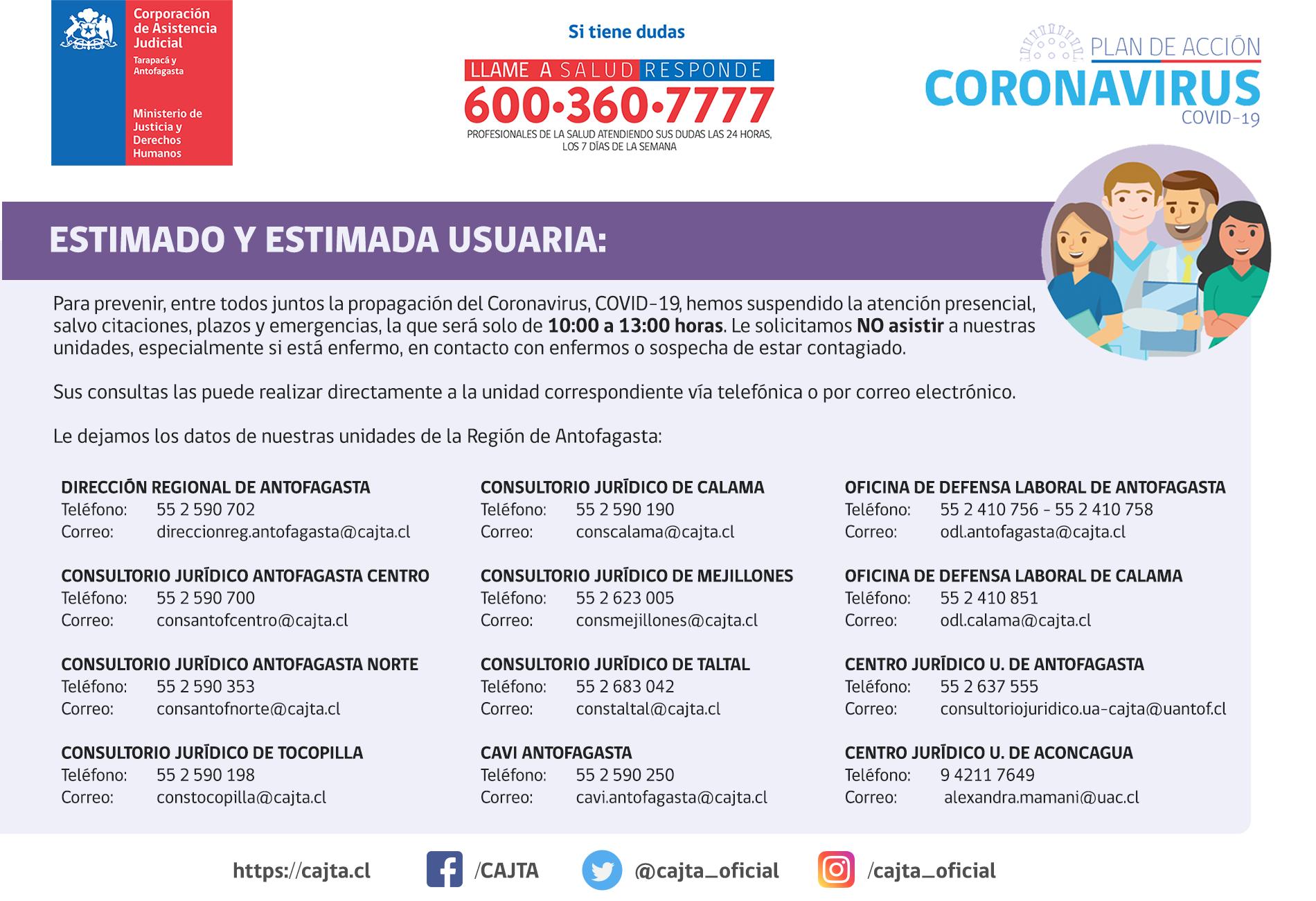Región de Antofagasta - Informa suspesión de las atenciones presenciales