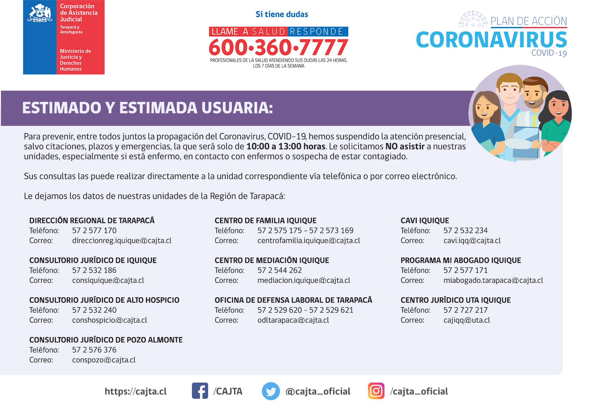 Región de Tarapacá - Informa suspesión de las atenciones presenciales