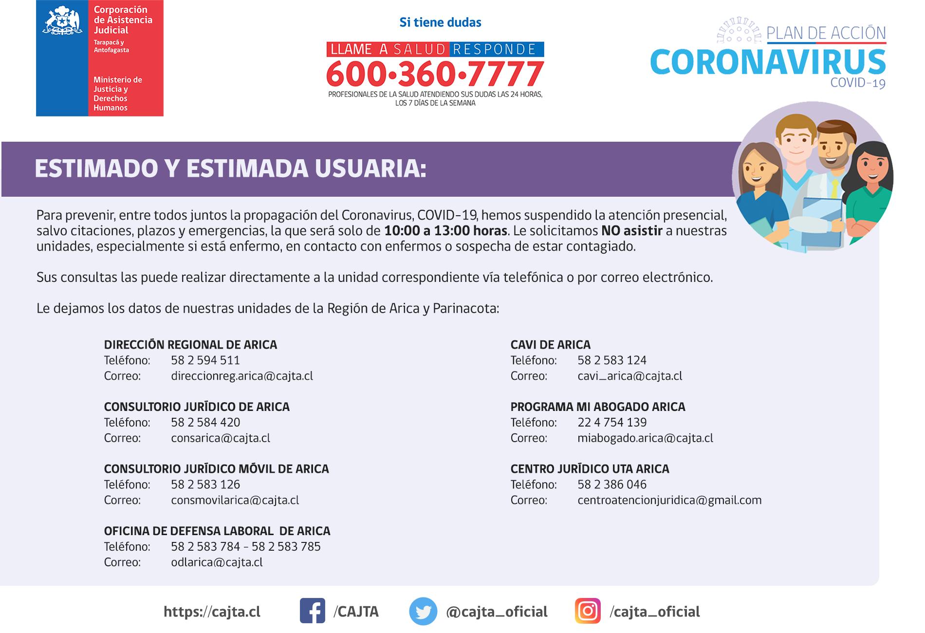 Región de Arica y Parinacota - Informa suspesión de las atenciones presenciales