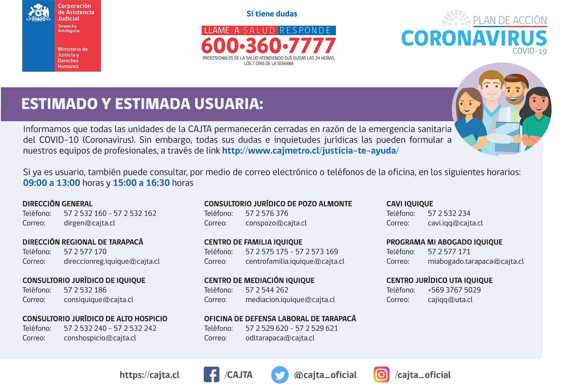 Información para nuestros usuarios y usuarias de la Región de Tarapacá