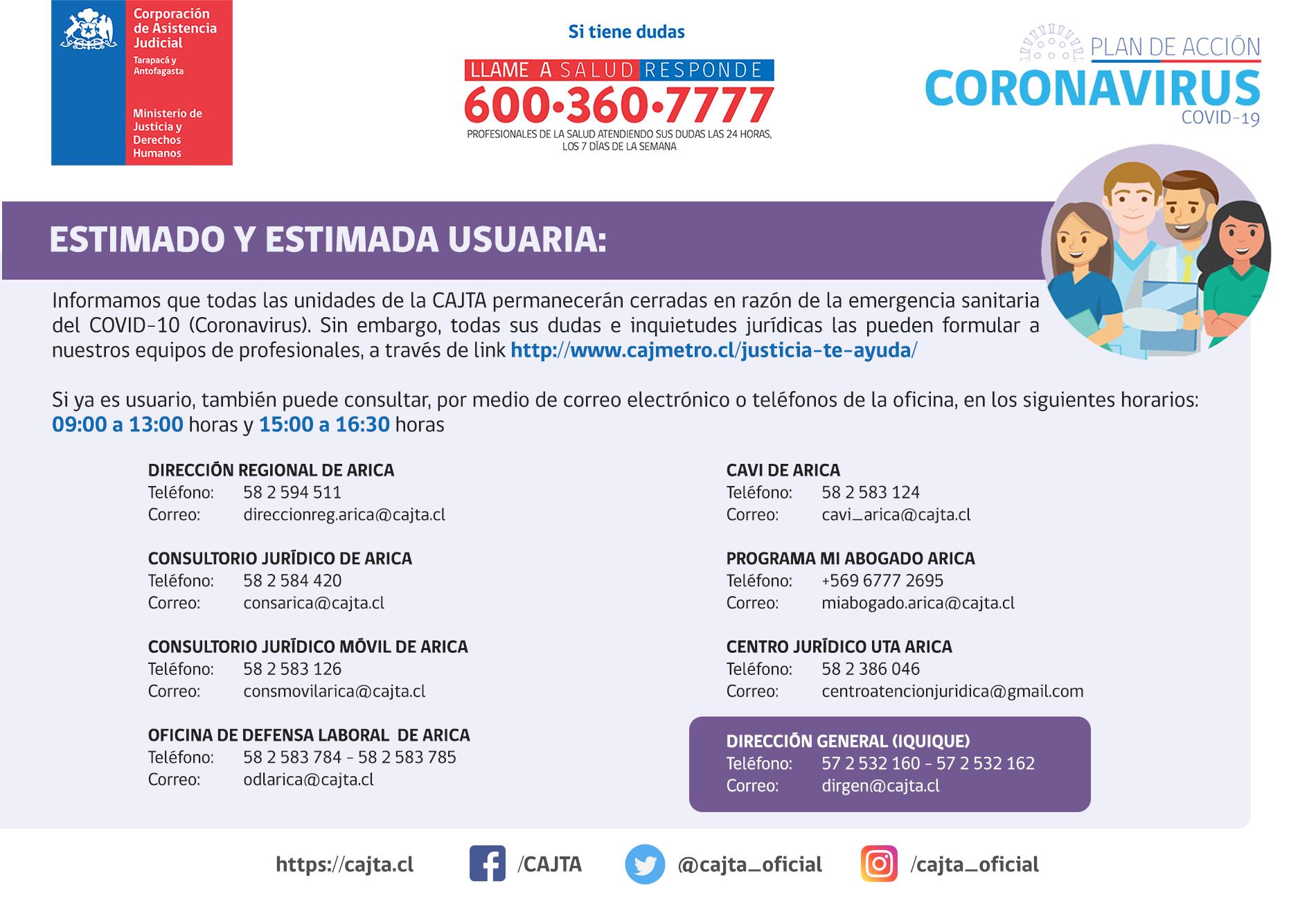 Información para nuestros usuarios y usuarias de la Región de Arica y Parinacota