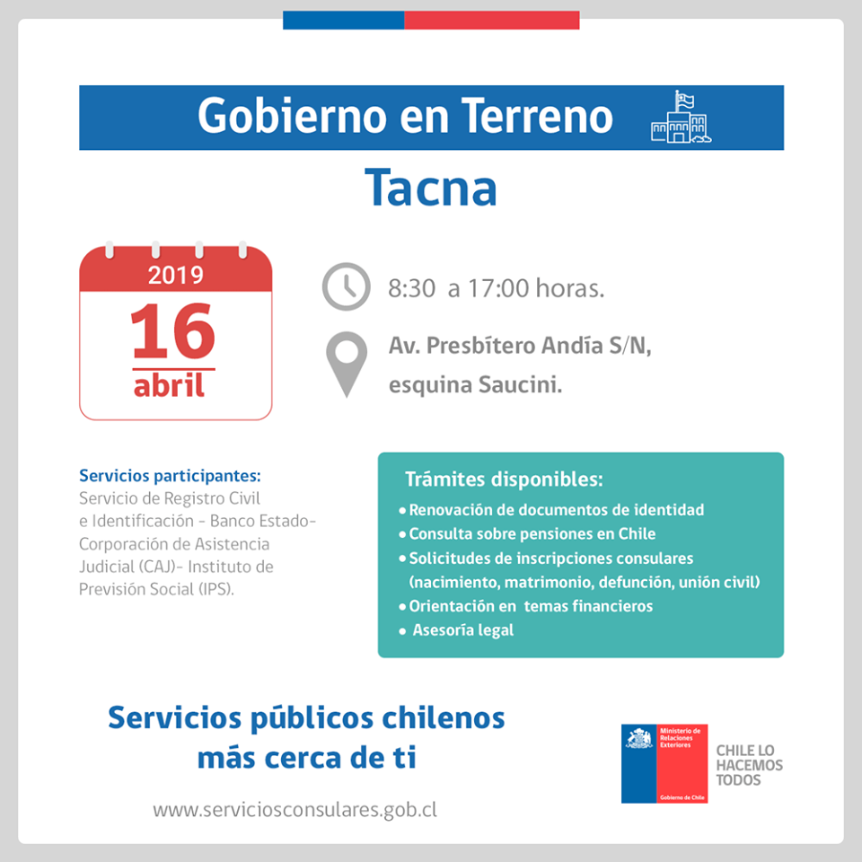 Gobierno en Terreno en Tacna